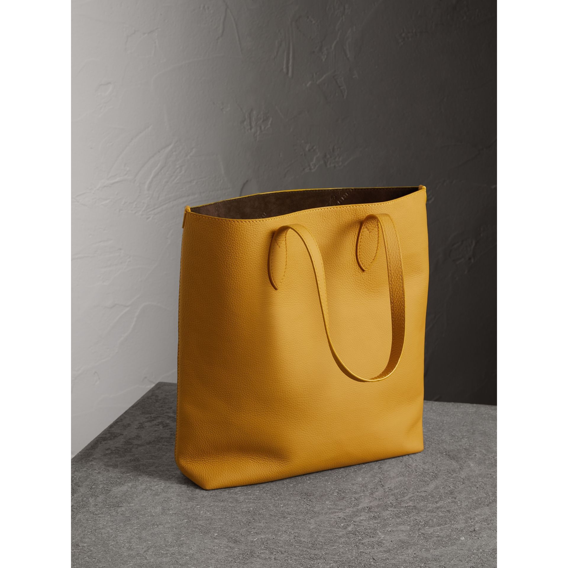 Embossed Leather Tote in Ochre Yellow | Burberry - gallery image 3