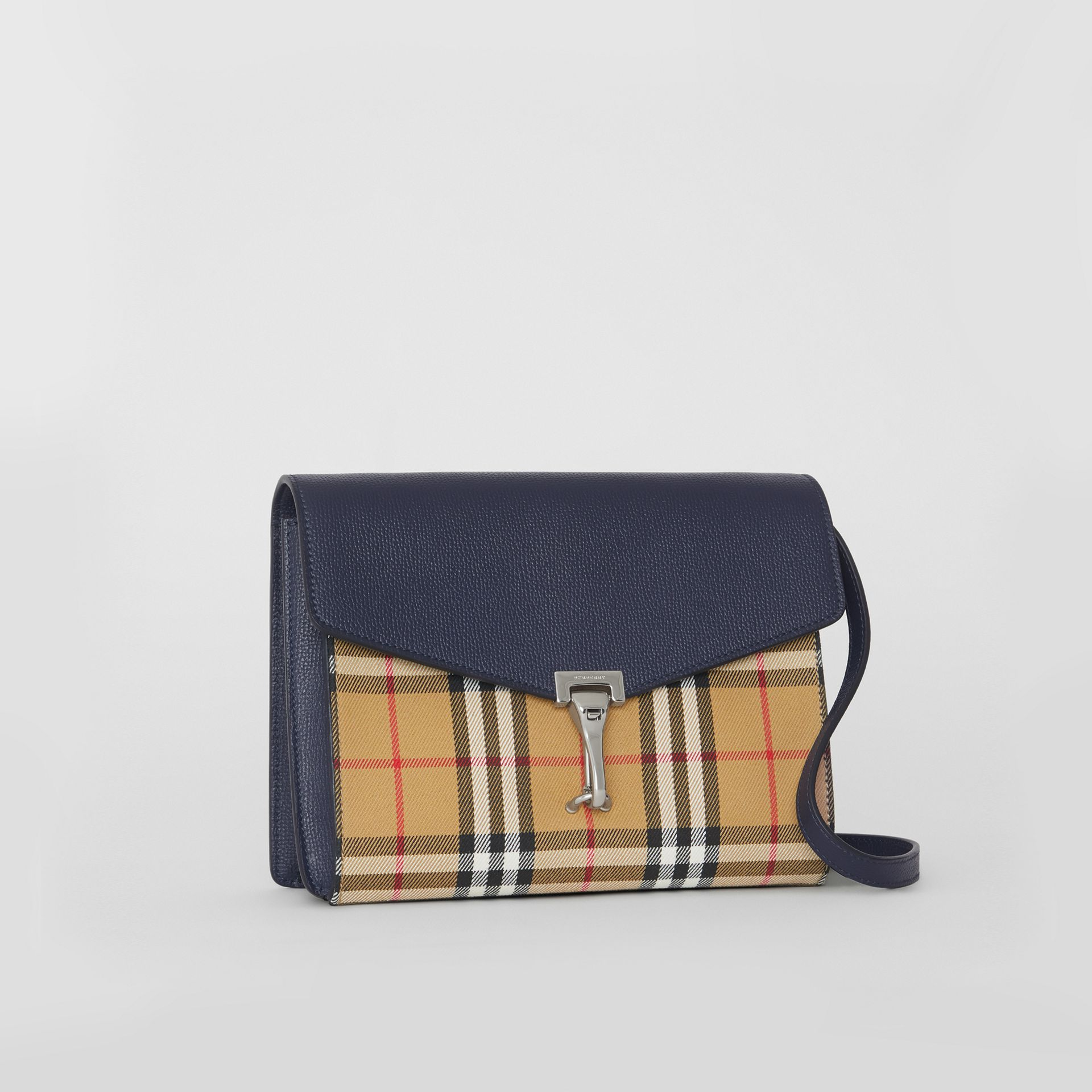 Small Vintage Check and Leather Crossbody Bag in Regency Blue - Women | Burberry - gallery image 4