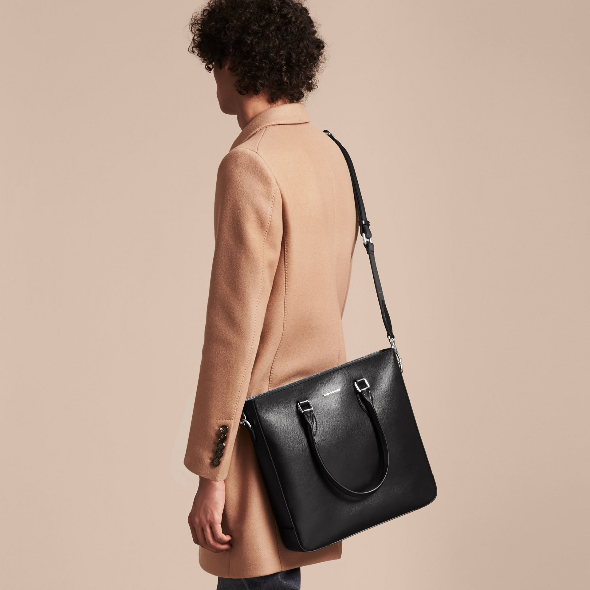 Black London Leather Tote Bag Black - gallery image 4