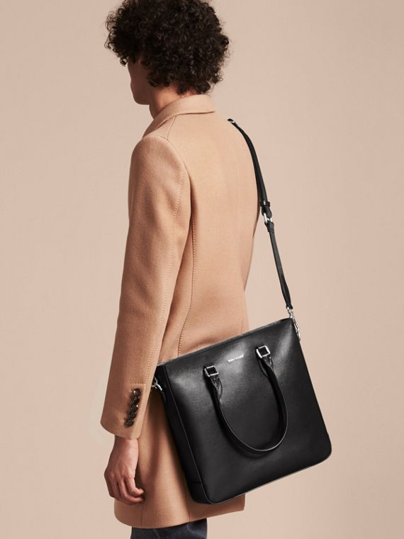 London Leather Tote Bag in Black - Men | Burberry - cell image 3