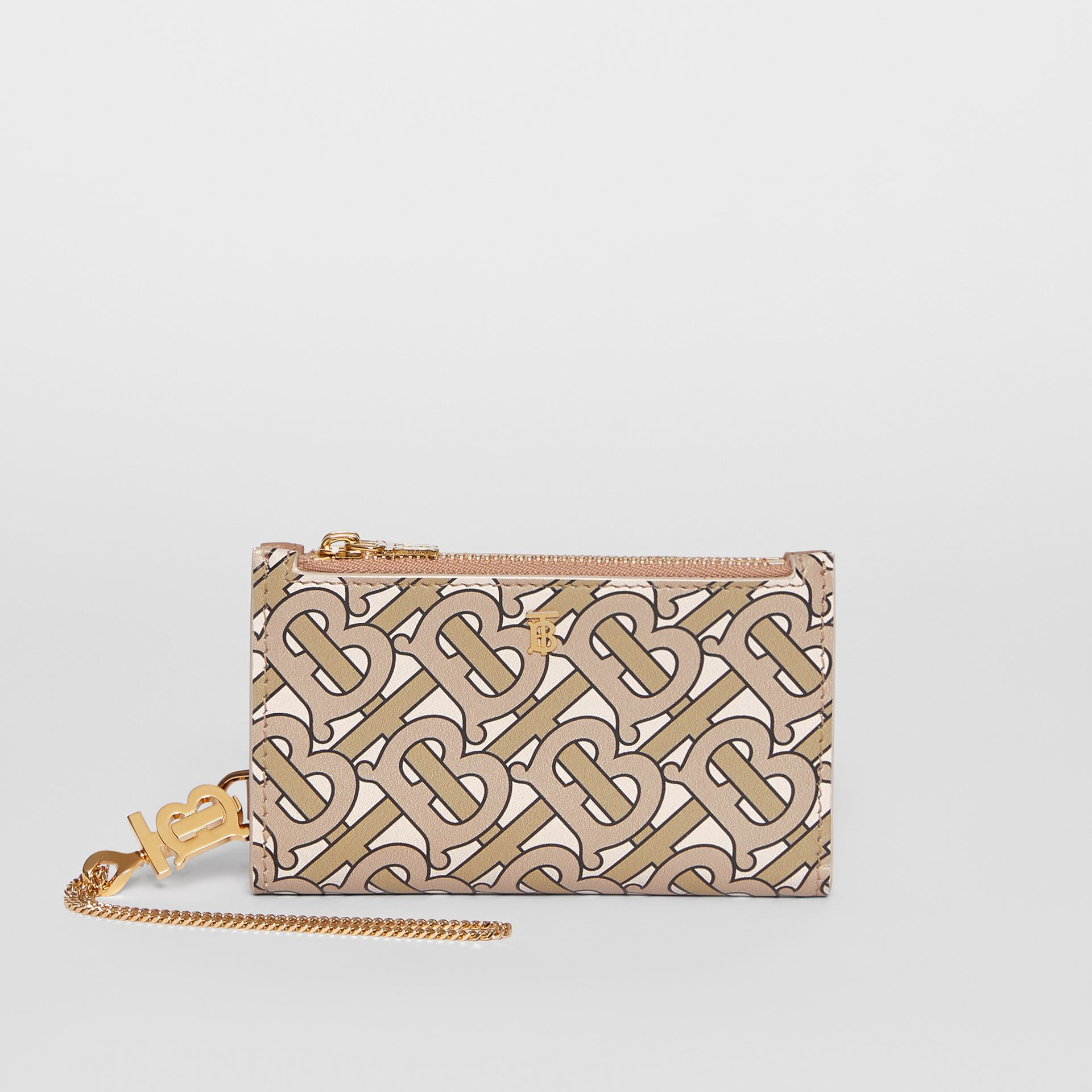 Monogram Motif Leather Wallet with Detachable Strap in Beige - Women | Burberry - gallery image 7