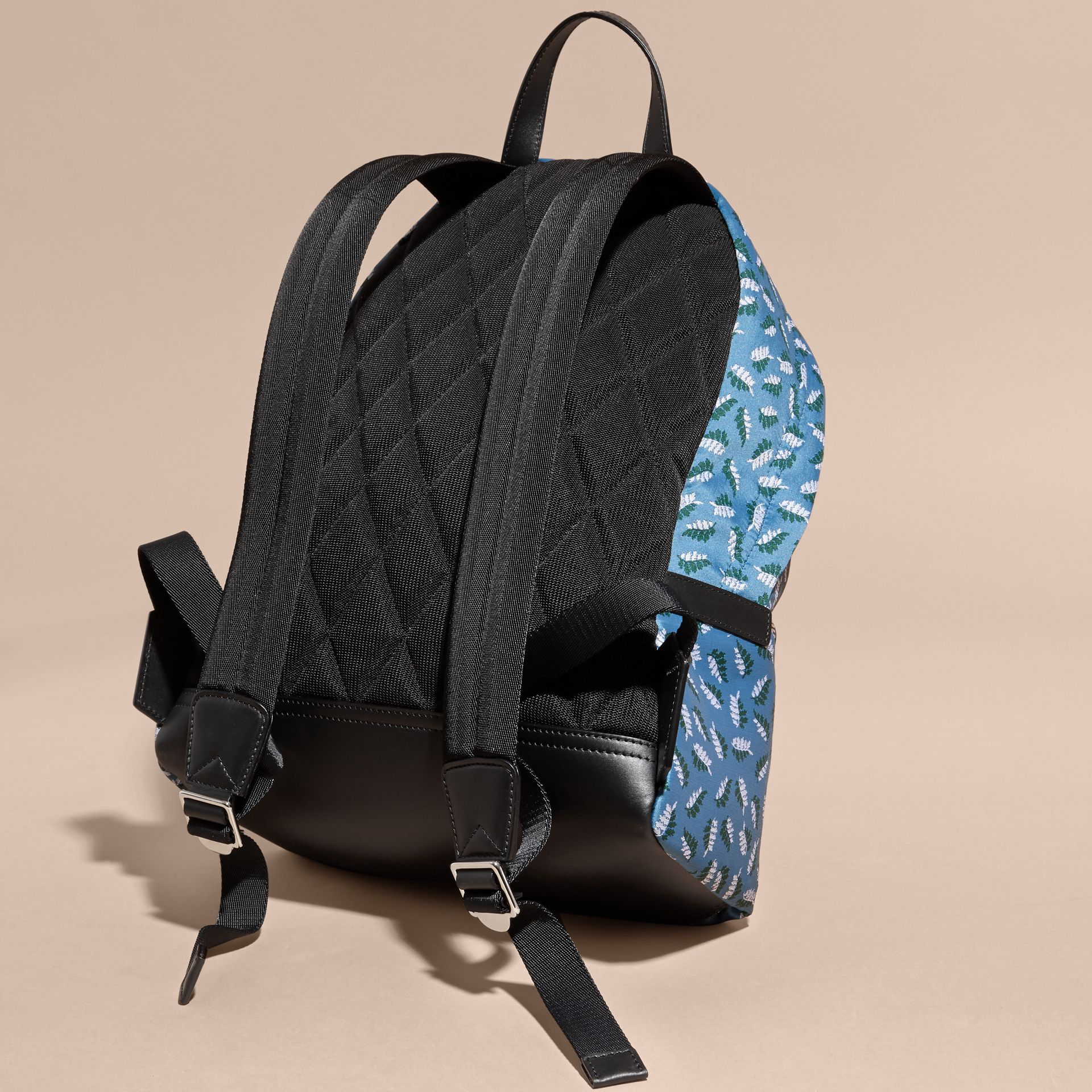 Deep cerulean blue leaf Leaf Jacquard Backpack - gallery image 4