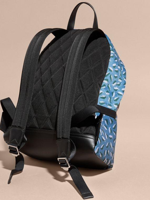 Deep cerulean blue leaf Leather Trim Leaf Jacquard Backpack - cell image 3