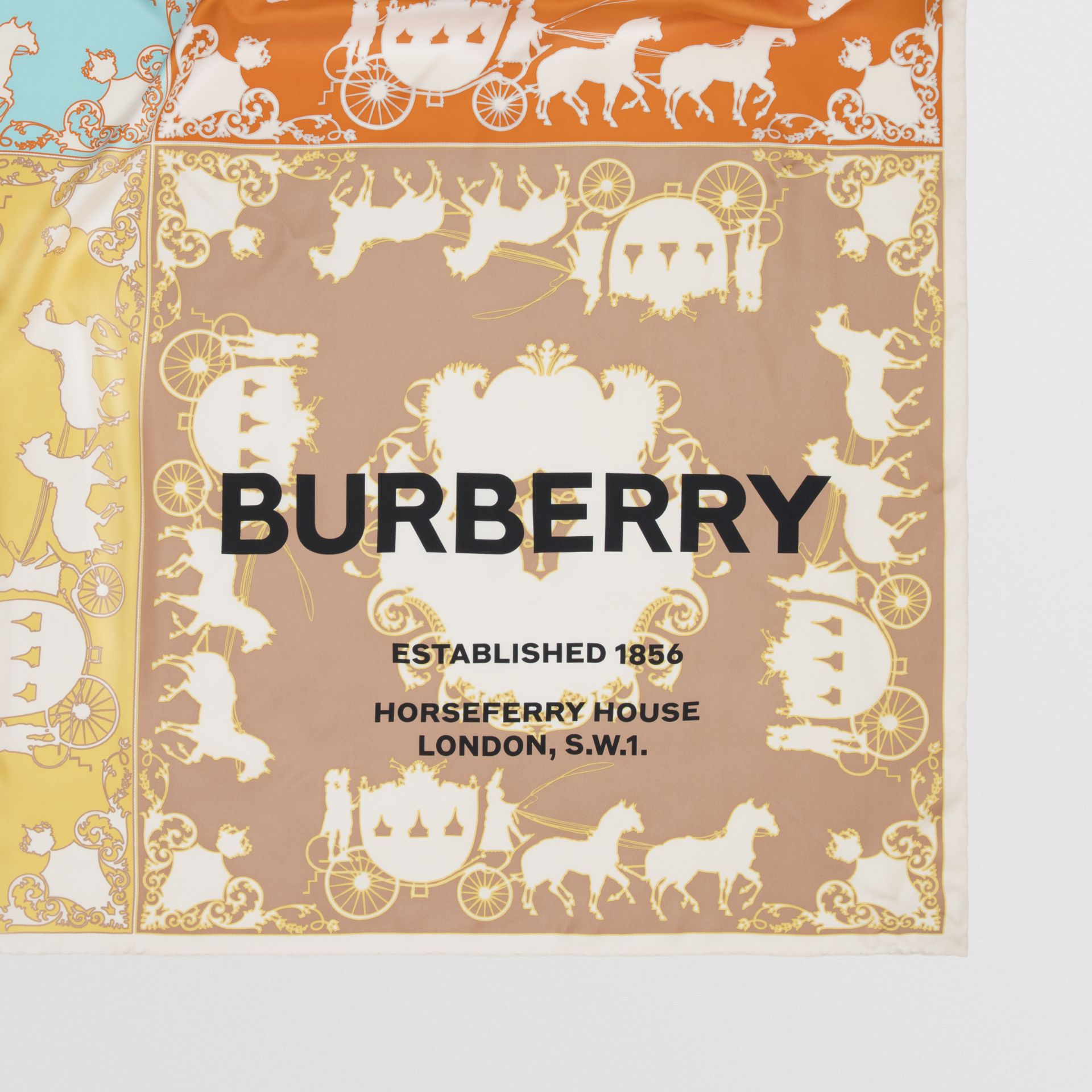 Archive Scarf Print Silk Large Square Scarf in Multicolour | Burberry - gallery image 1