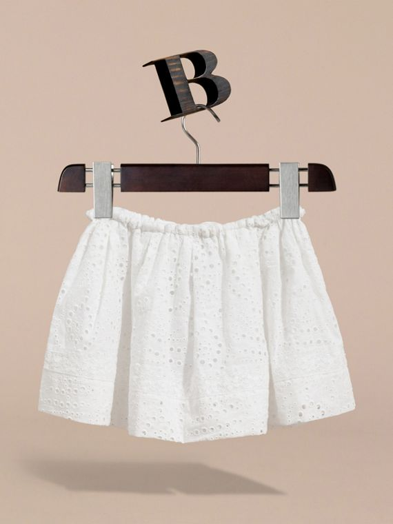 Broderie Anglaise Cotton Skirt with Lace Trim in White | Burberry - cell image 3