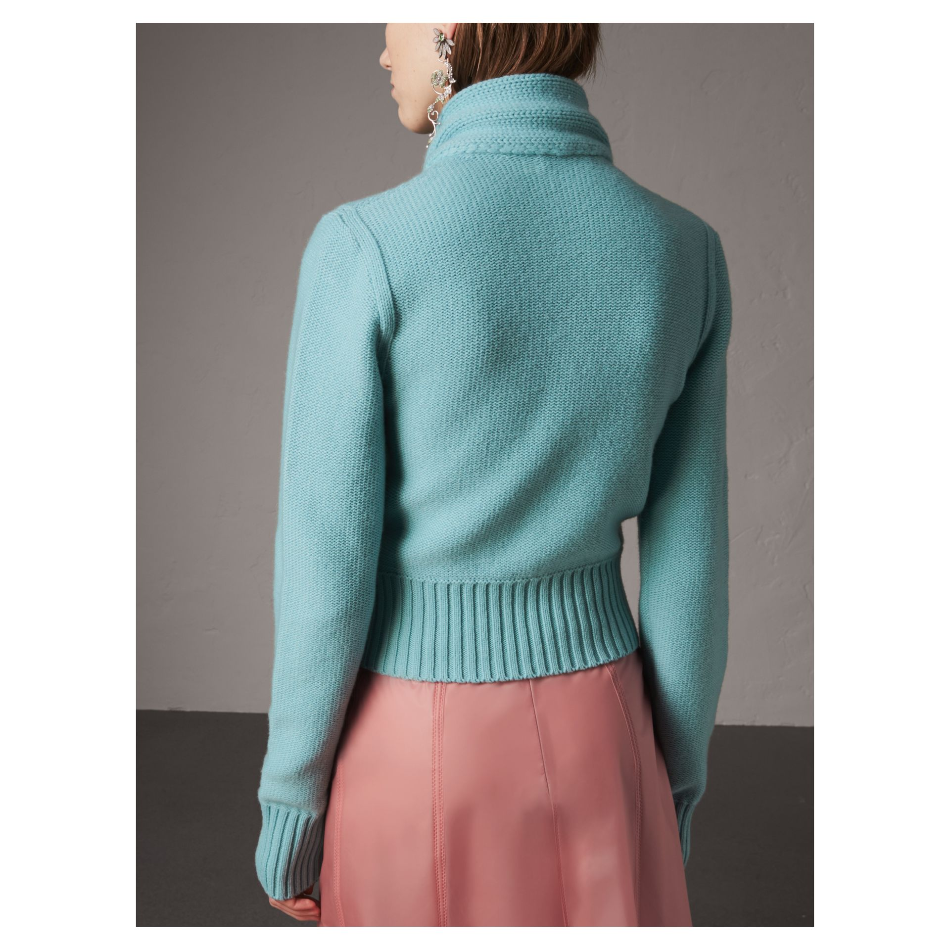 Cashmere Tie-neck Sweater in Powder Blue - Women | Burberry - gallery image 3