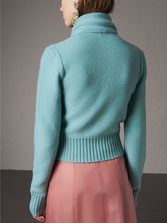 Cashmere Tie-neck Sweater in Powder Blue - Women | Burberry - cell image 2