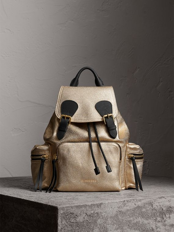 The Medium Rucksack in Metallic Deerskin in Nude Gold