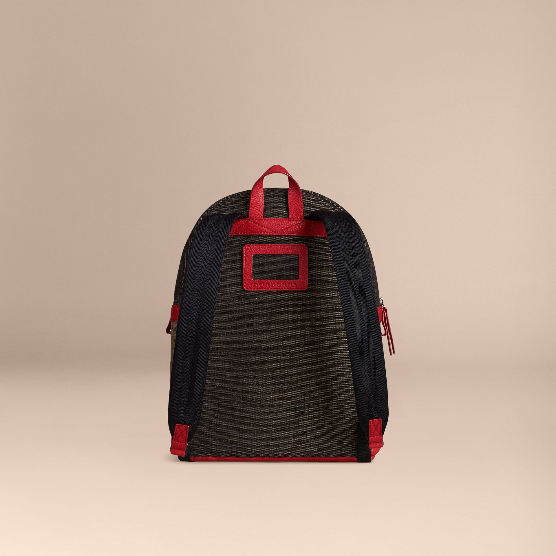 Bright military red Canvas Check and Leather Backpack - gallery image 4