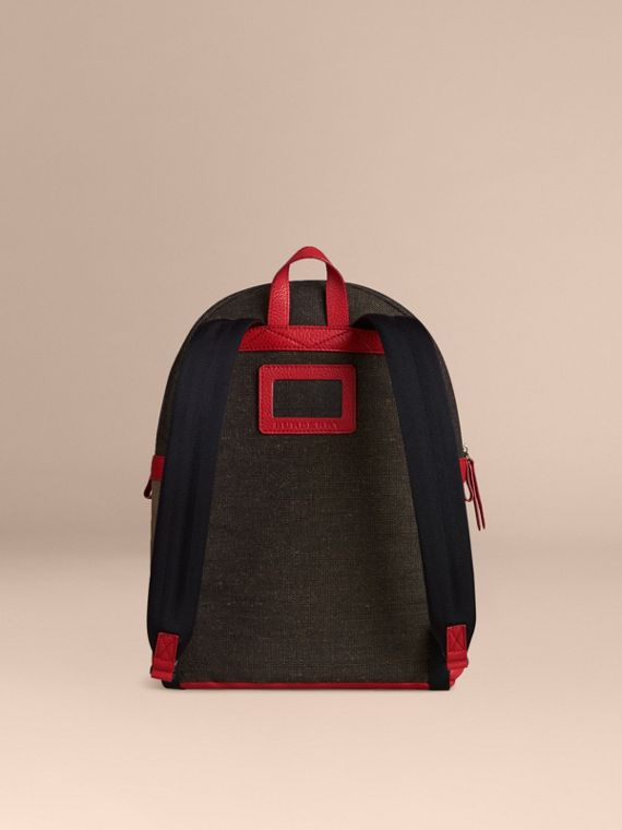 Bright military red Canvas Check and Leather Backpack - cell image 3