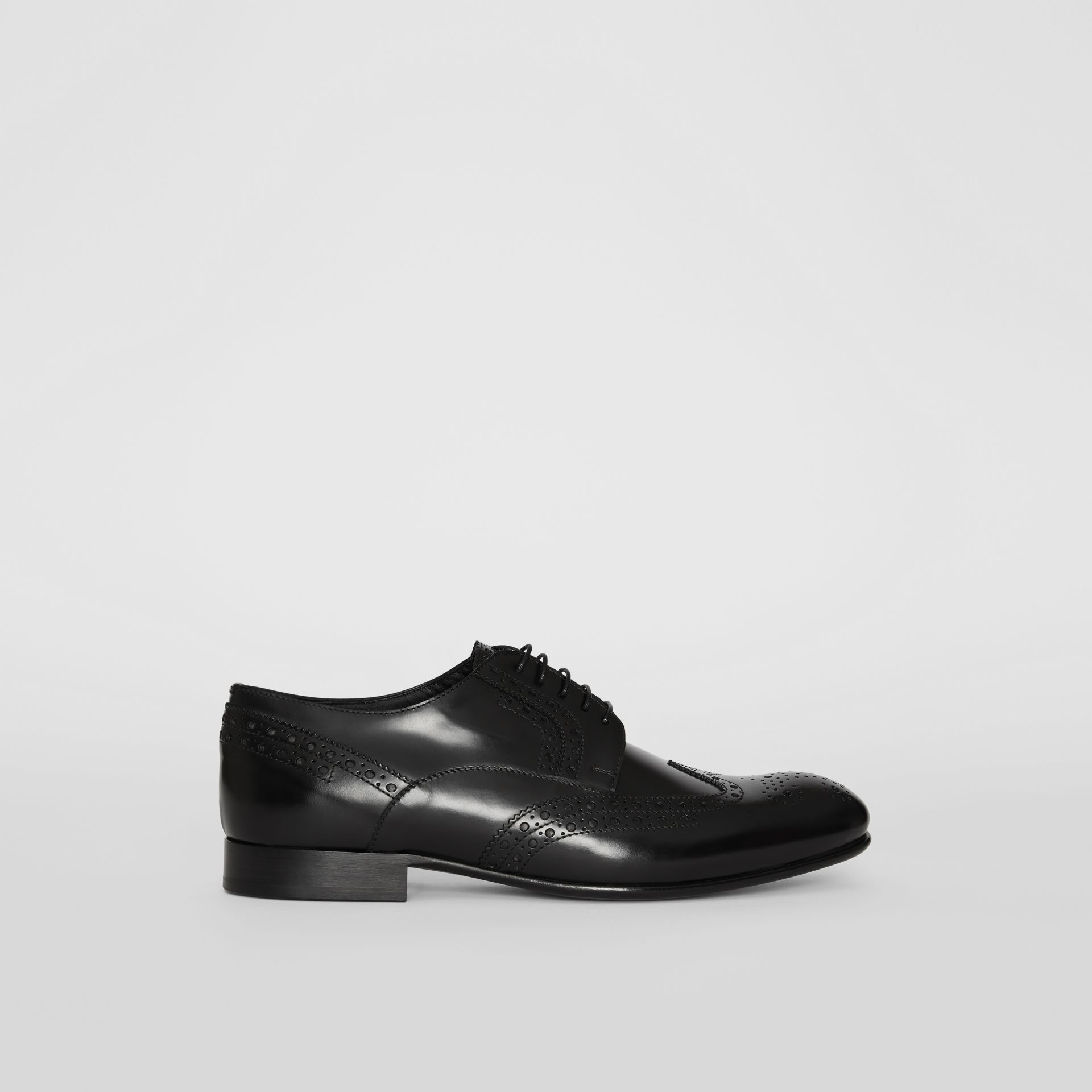 Brogue Detail Leather Derby Shoes in Black - Men | Burberry - gallery image 4