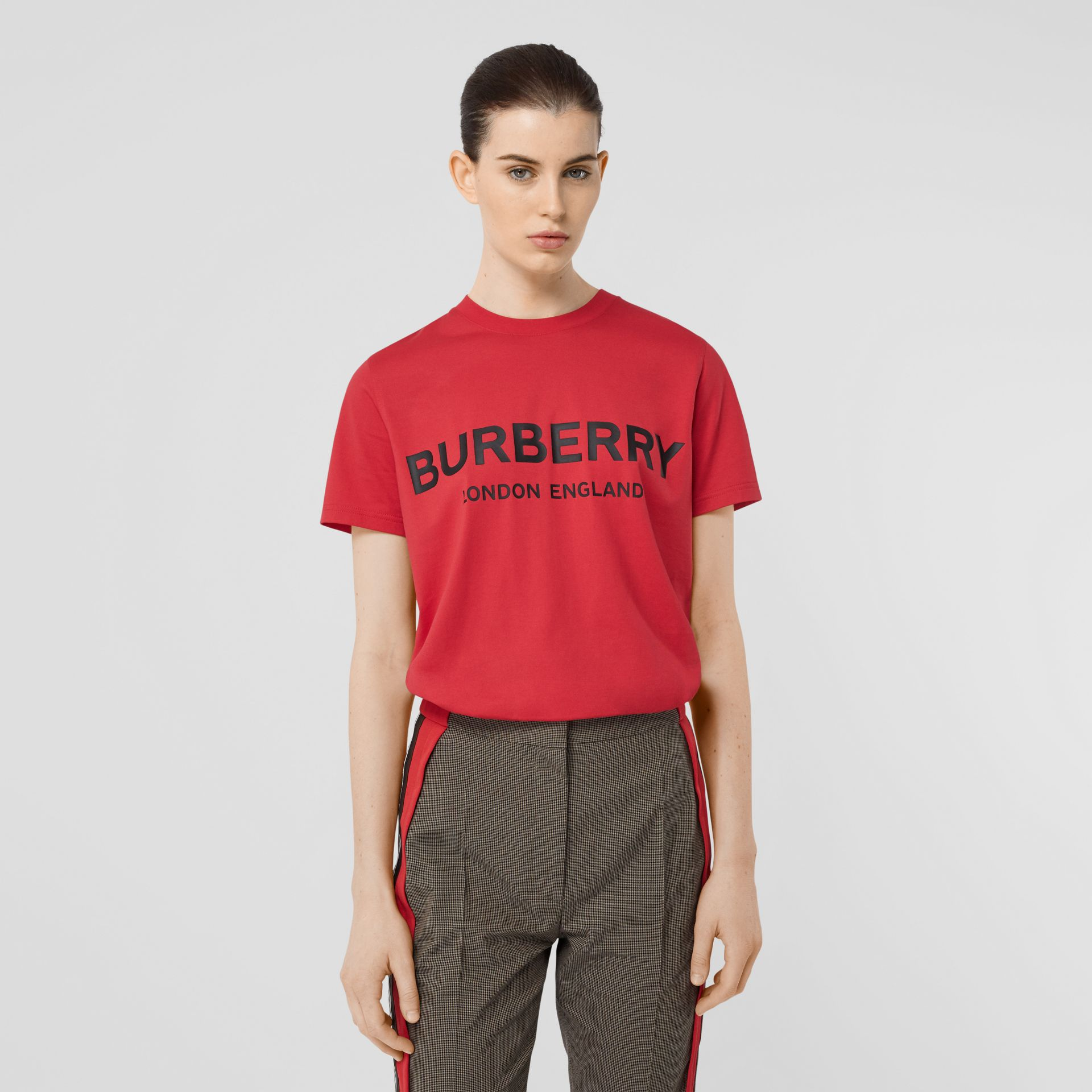 Logo Print Cotton T-shirt in Bright Red - Women | Burberry - gallery image 4