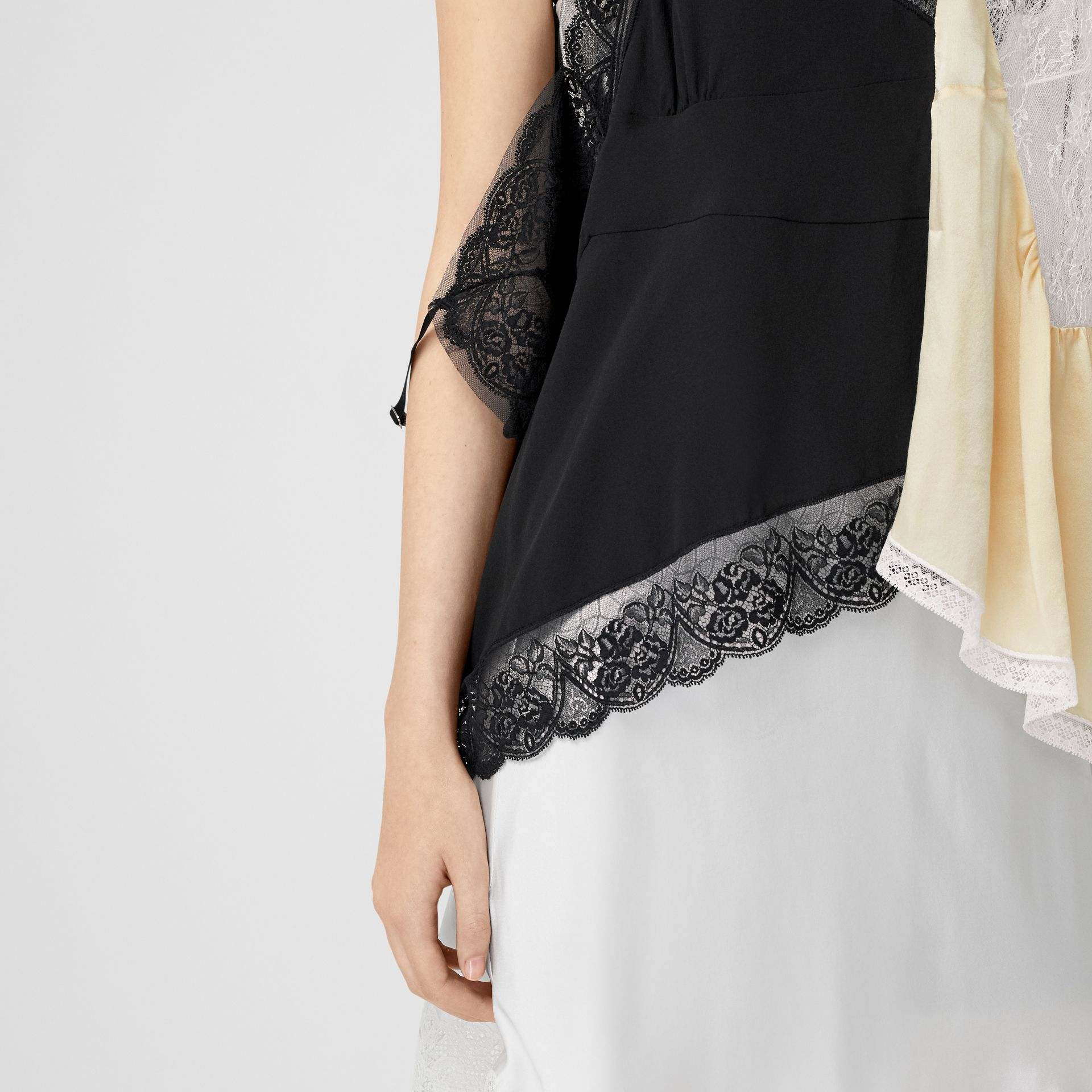 Lace Trim Silk Satin Reconstructed Camisole in Buttermilk - Women | Burberry - gallery image 5