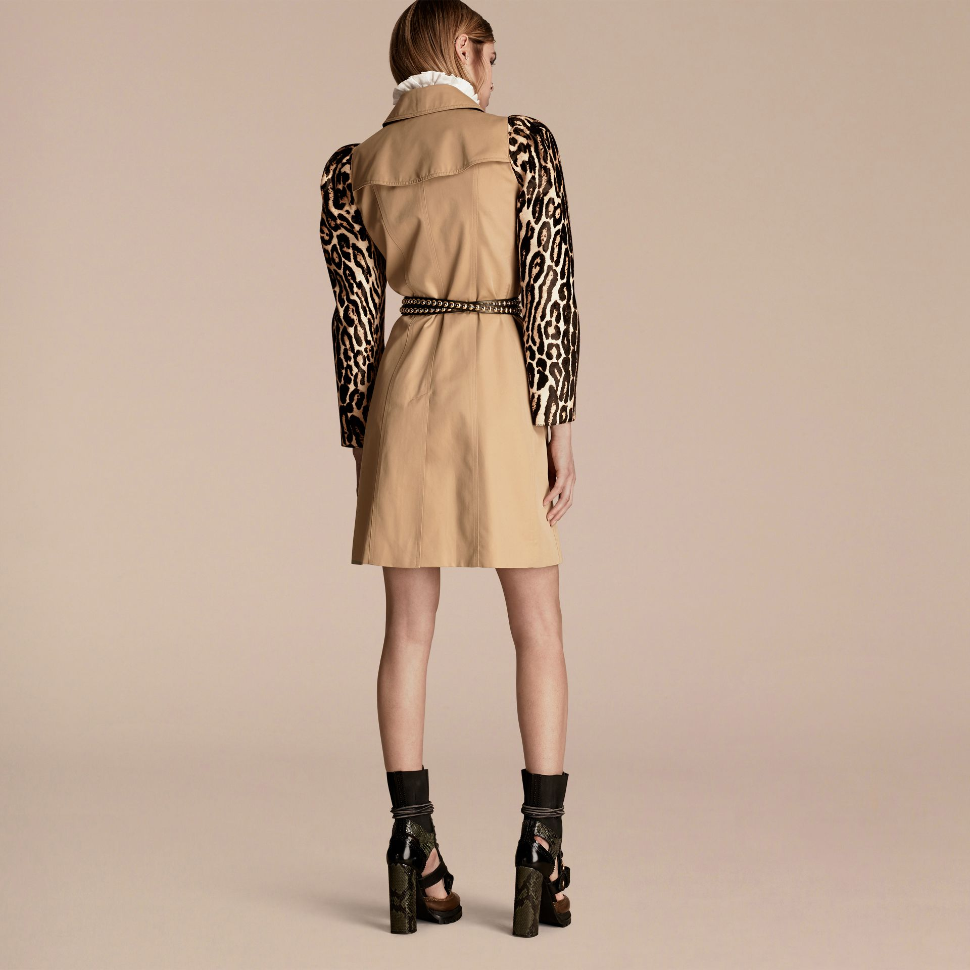 Honey Cotton Gabardine Trench Coat with Leopard-print Sleeves - gallery image 3