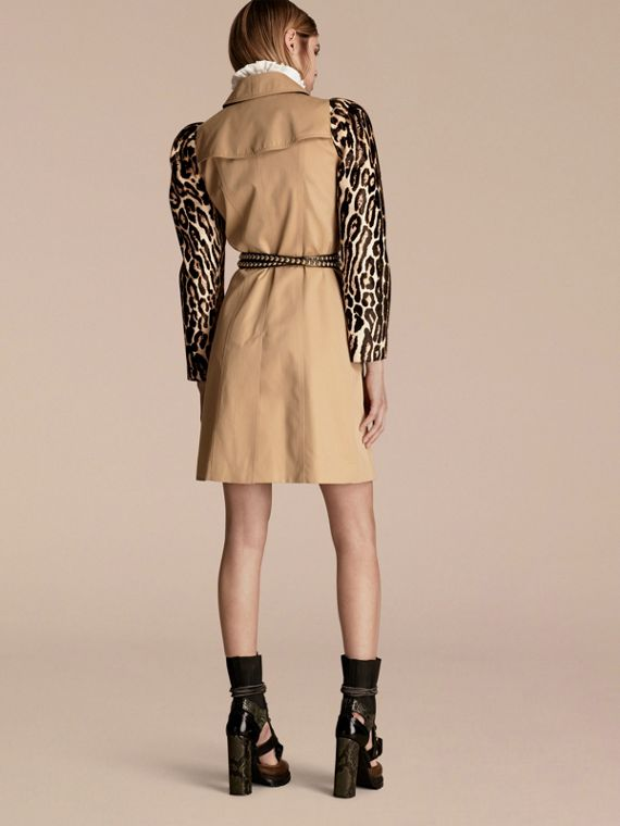 Honey Cotton Gabardine Trench Coat with Leopard-print Sleeves - cell image 2