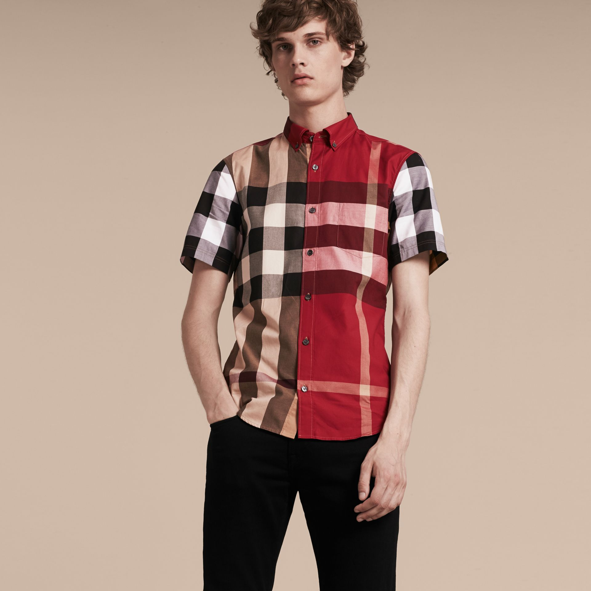 Camel Short-sleeved Colour Block Check Cotton Shirt Camel - gallery image 6