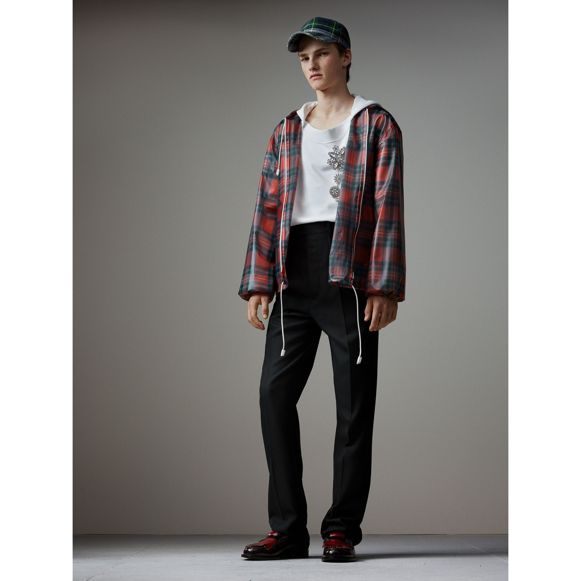 Tartan Soft-touch Plastic Cagoule in Bright Red - Men | Burberry Singapore - gallery image 1