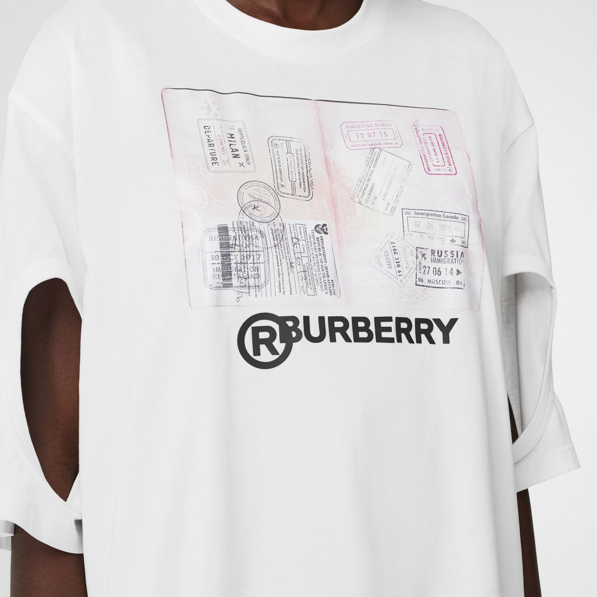 Cut-out Detail Montage Print Cotton Oversized T-shirt in Optic White - Women | Burberry United States - gallery image 5