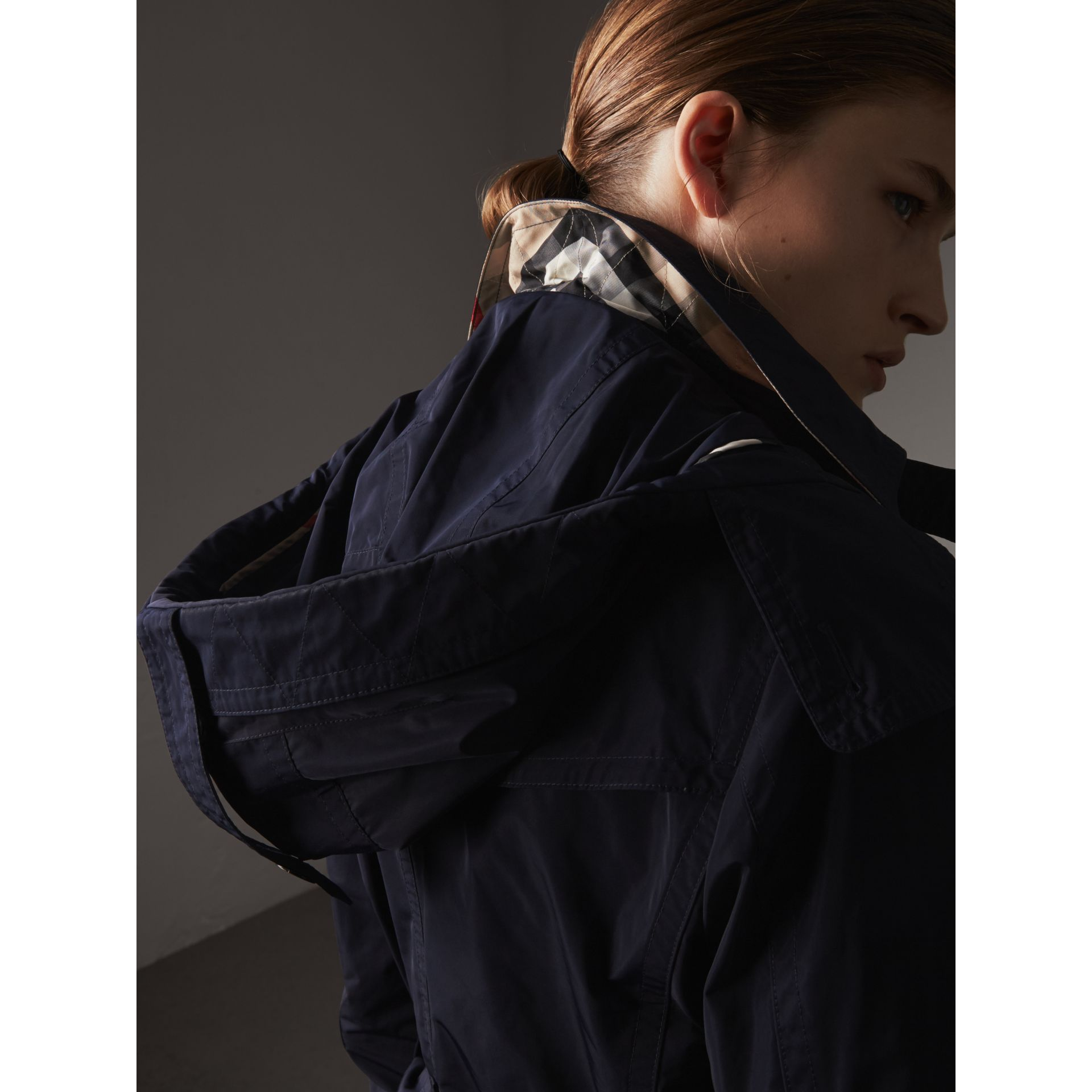 Taffeta Trench Coat with Detachable Hood in Navy - Women | Burberry United Kingdom - gallery image 2