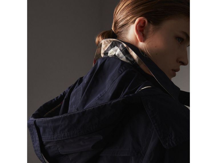 Taffeta Trench Coat with Detachable Hood in Navy - Women | Burberry United Kingdom - cell image 1