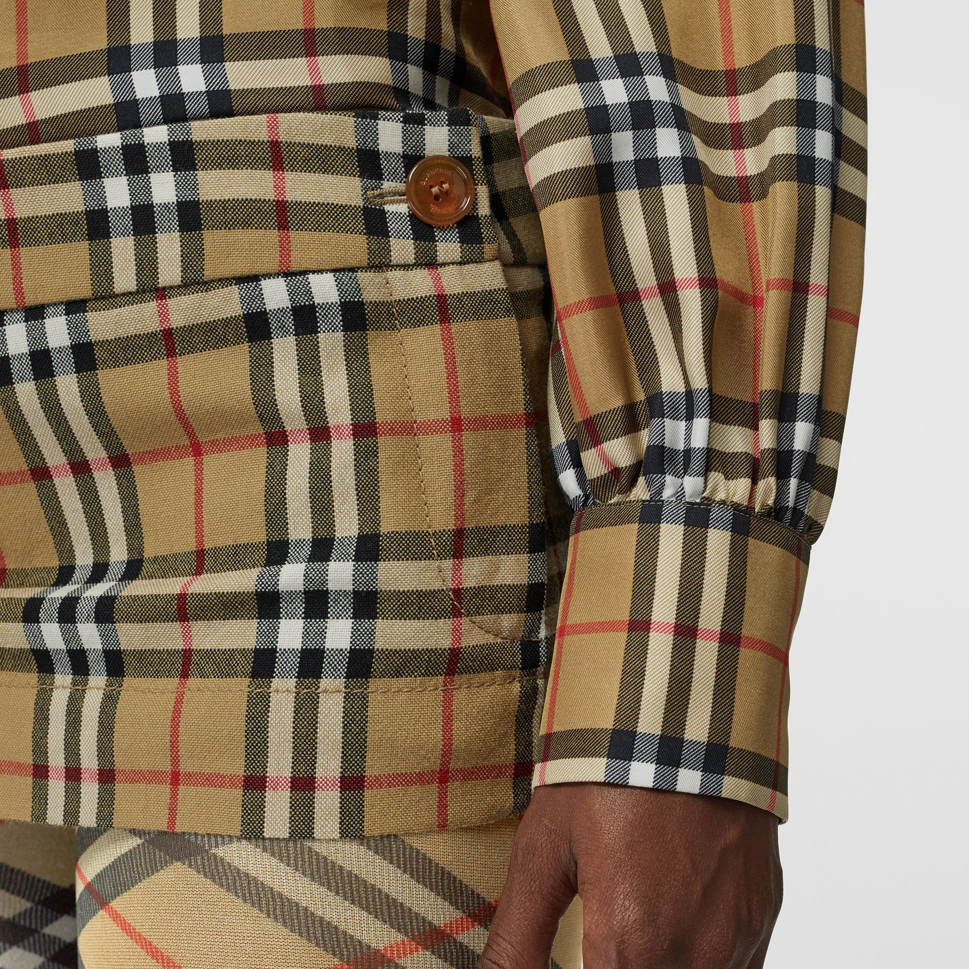 Vintage Check Wool Twill Mini Skirt in Antique Yellow - Women | Burberry - gallery image 1