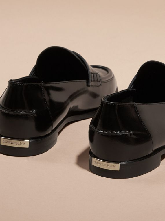 Black Polished Leather Loafers - cell image 3