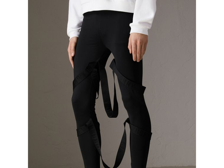 Strap Detail Jersey Leggings in Black | Burberry Hong Kong - cell image 4