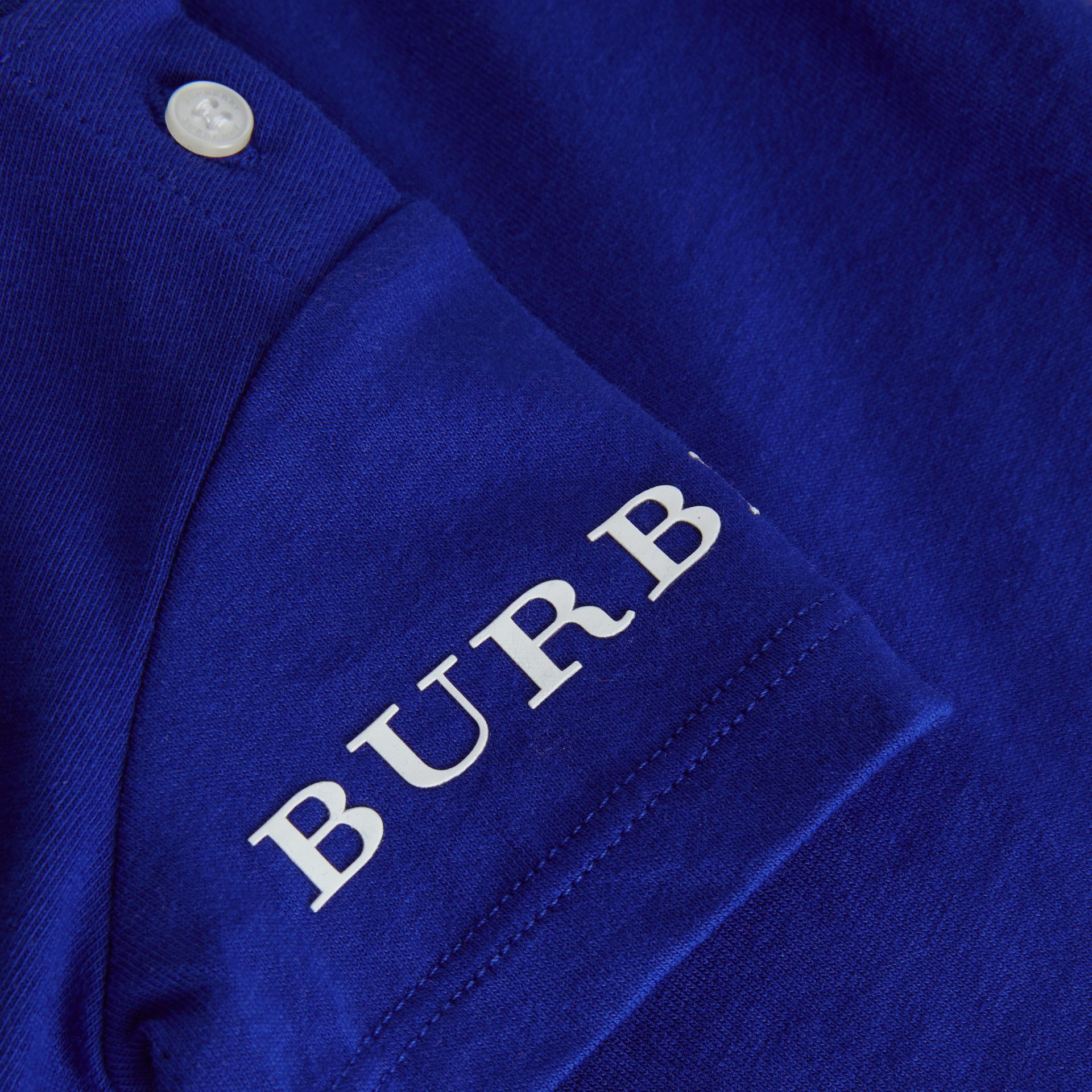 Logo Print Cotton T-shirt in Cobalt Blue - Children | Burberry - gallery image 1