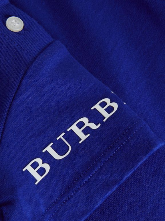 Logo Print Cotton T-shirt in Cobalt Blue - Children | Burberry United Kingdom - cell image 1