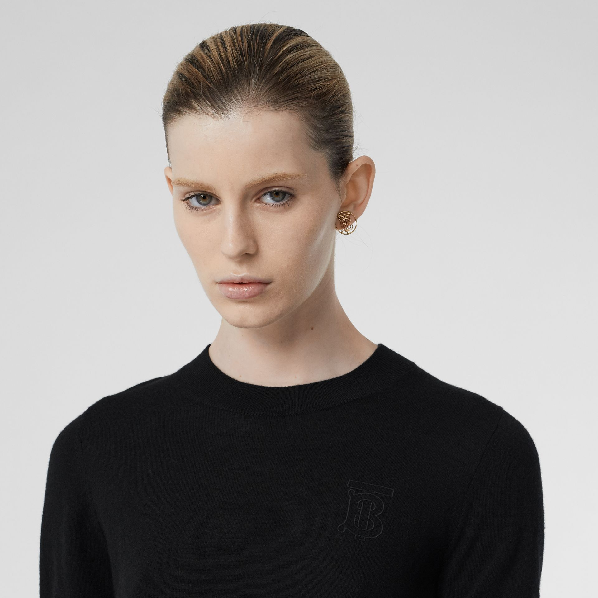 Monogram Motif Cashmere Top in Black - Women | Burberry - gallery image 1