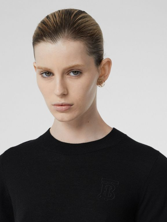 Monogram Motif Cashmere Top in Black - Women | Burberry - cell image 1