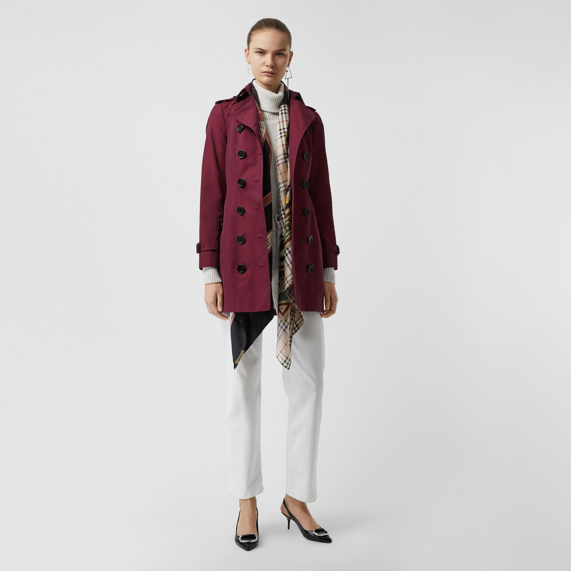 Sandringham Fit Cotton Gabardine Trench Coat in Crimson - Women | Burberry - gallery image 0