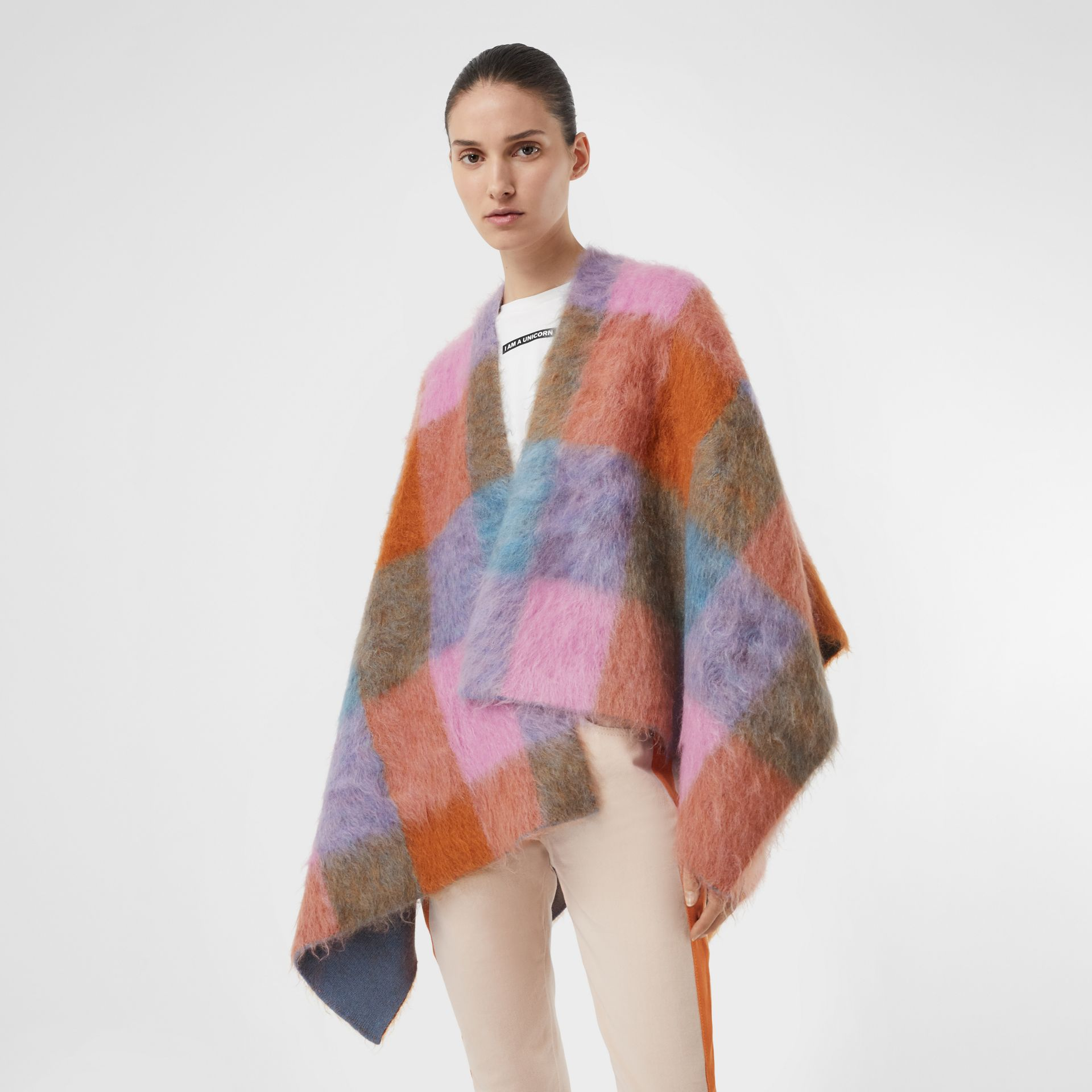 Patchwork Mohair Blend Cape in Apricot Pink - Women | Burberry - gallery image 4
