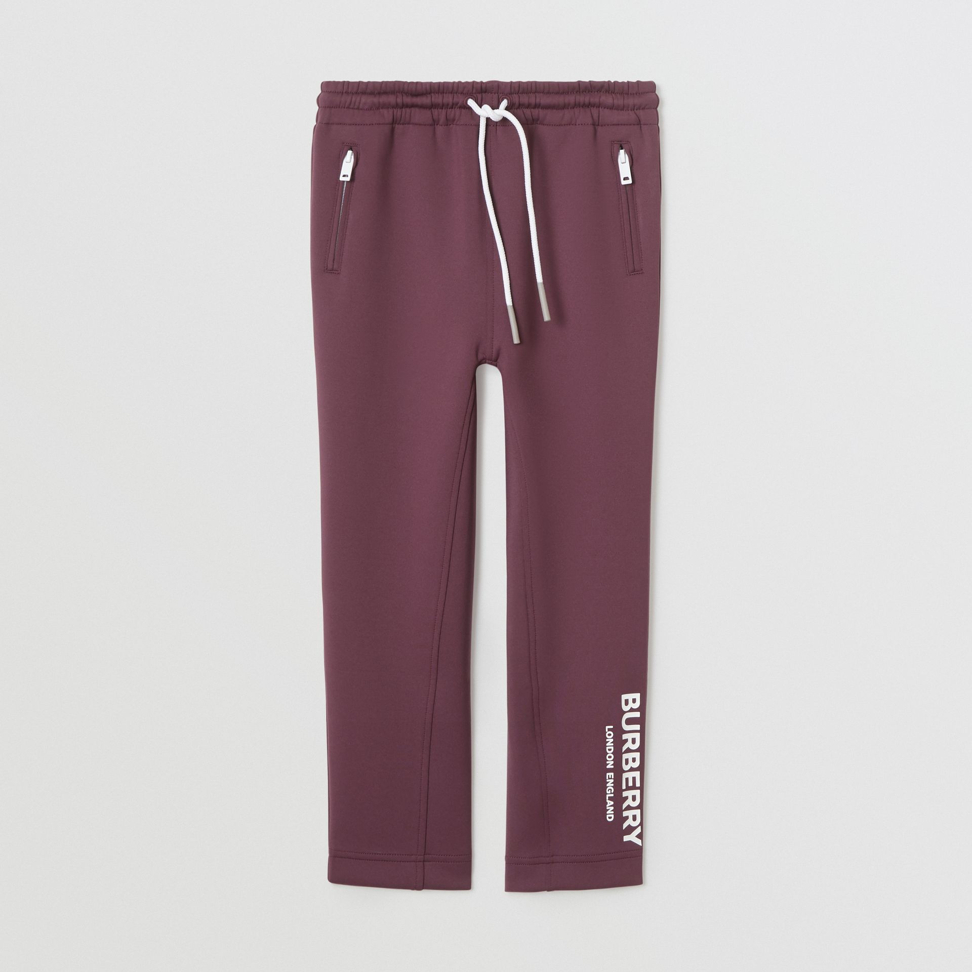 Logo Print Lightweight Trackpants in Claret | Burberry United Kingdom - gallery image 0