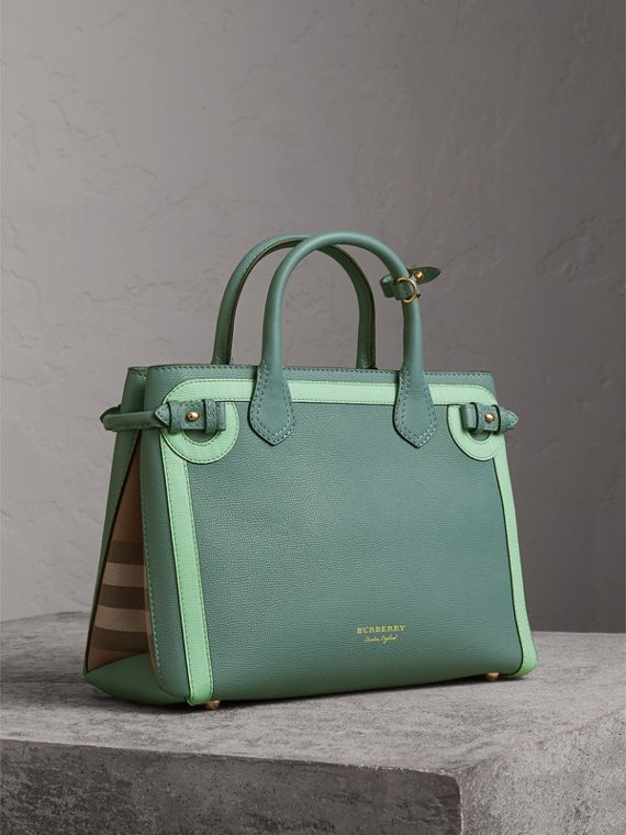 The Medium Banner in Leather with Tonal Appliqué in Celadon Blue