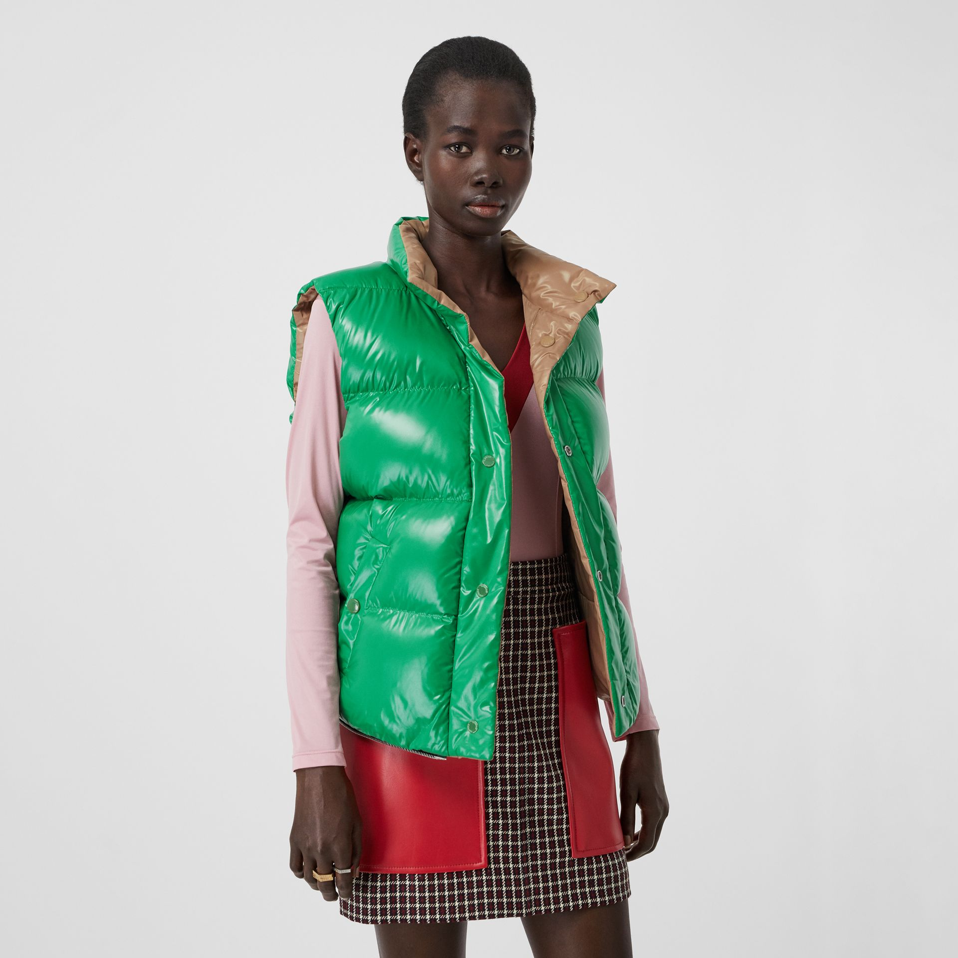 Tartan Wool Tailored Jacket with Detachable Gilet in Bordeaux - Women | Burberry United States - gallery image 6