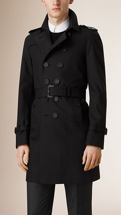 Black Cotton Gabardine Trench Coat - Image 1