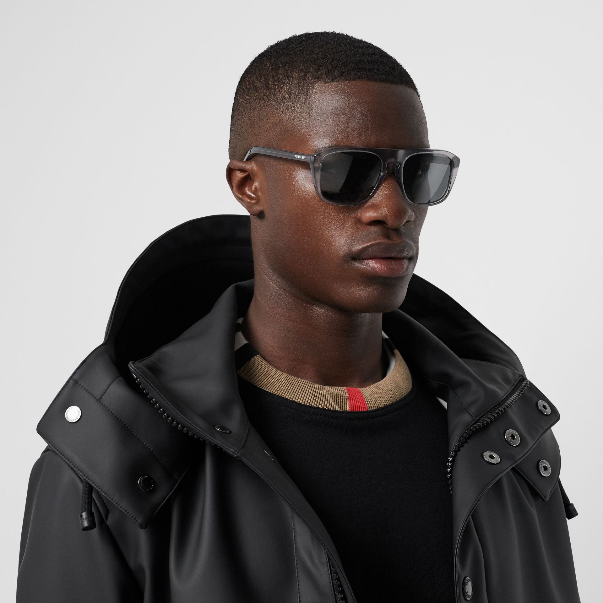 Square Frame Sunglasses in Grey - Men | Burberry United Kingdom - gallery image 2