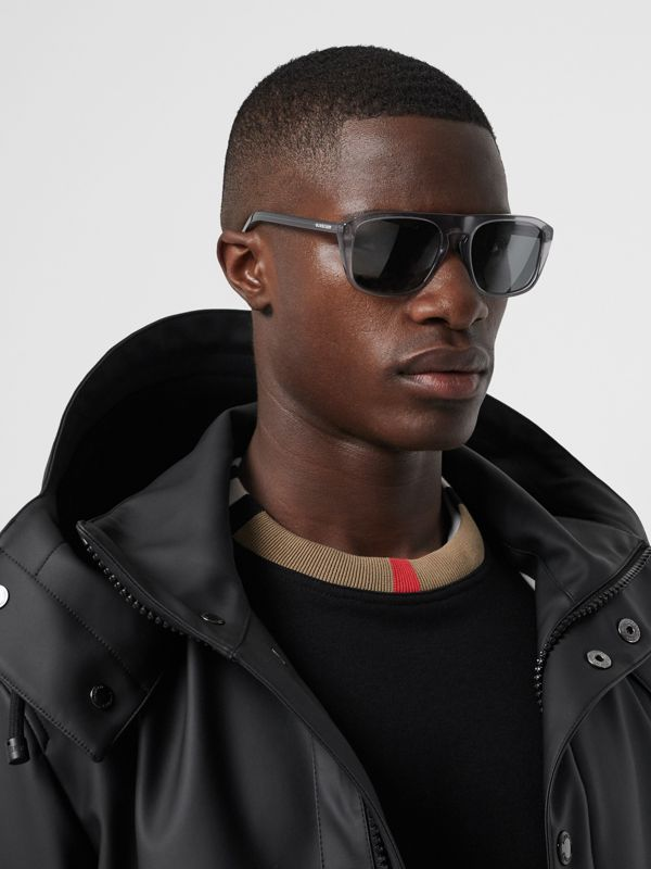 Square Frame Sunglasses in Grey - Men | Burberry United Kingdom - cell image 2