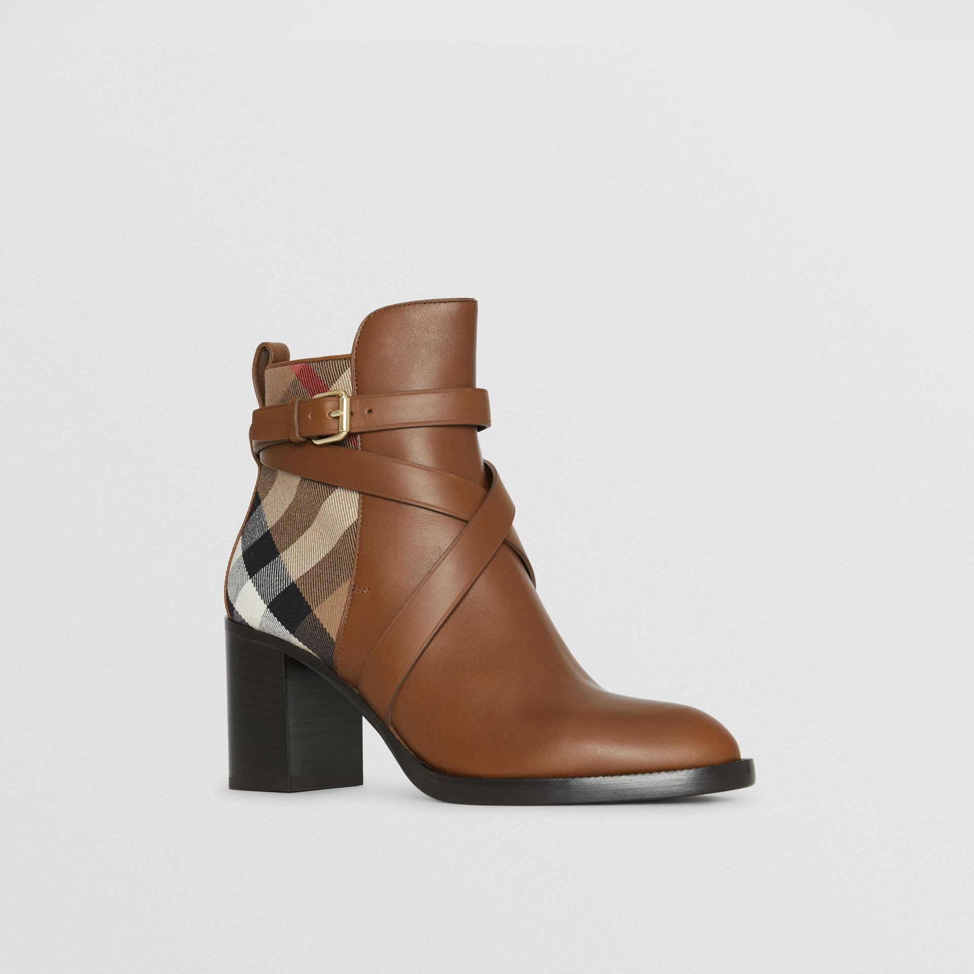 House Check and Leather Ankle Boots in Bright Camel - Women | Burberry - gallery image 6