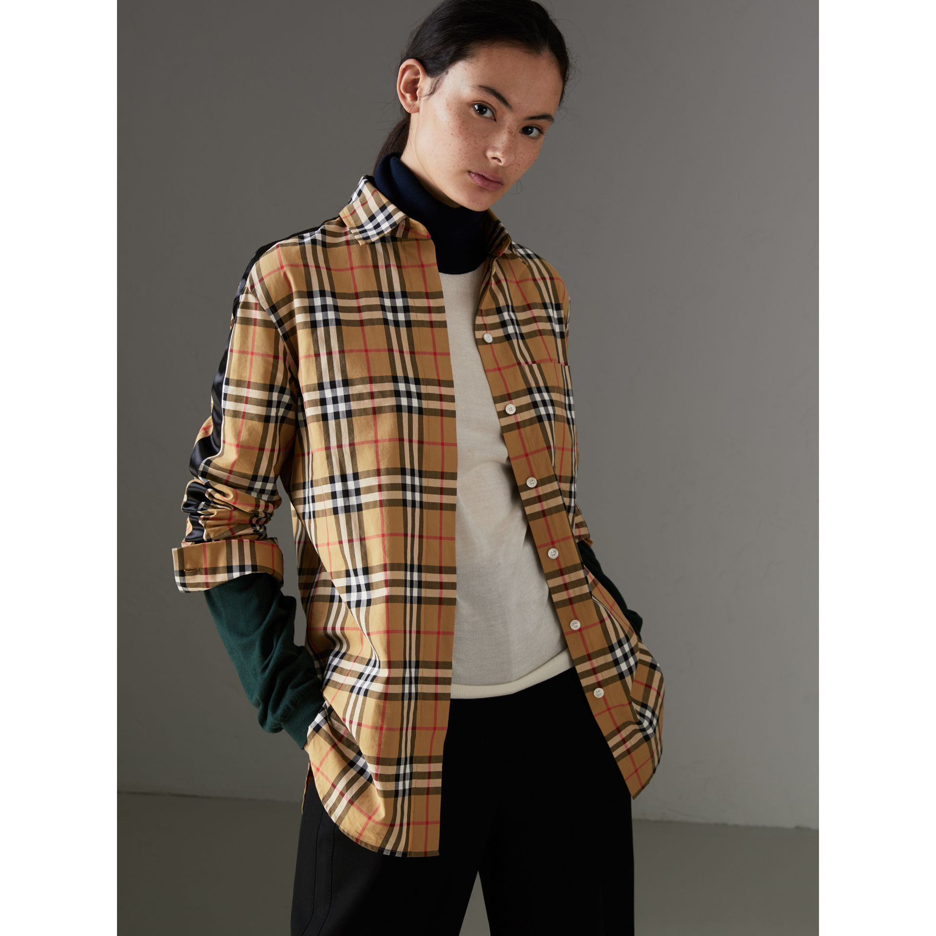 Stripe Detail Vintage Check Cotton Shirt in Antique Yellow - Women | Burberry Canada - gallery image 4