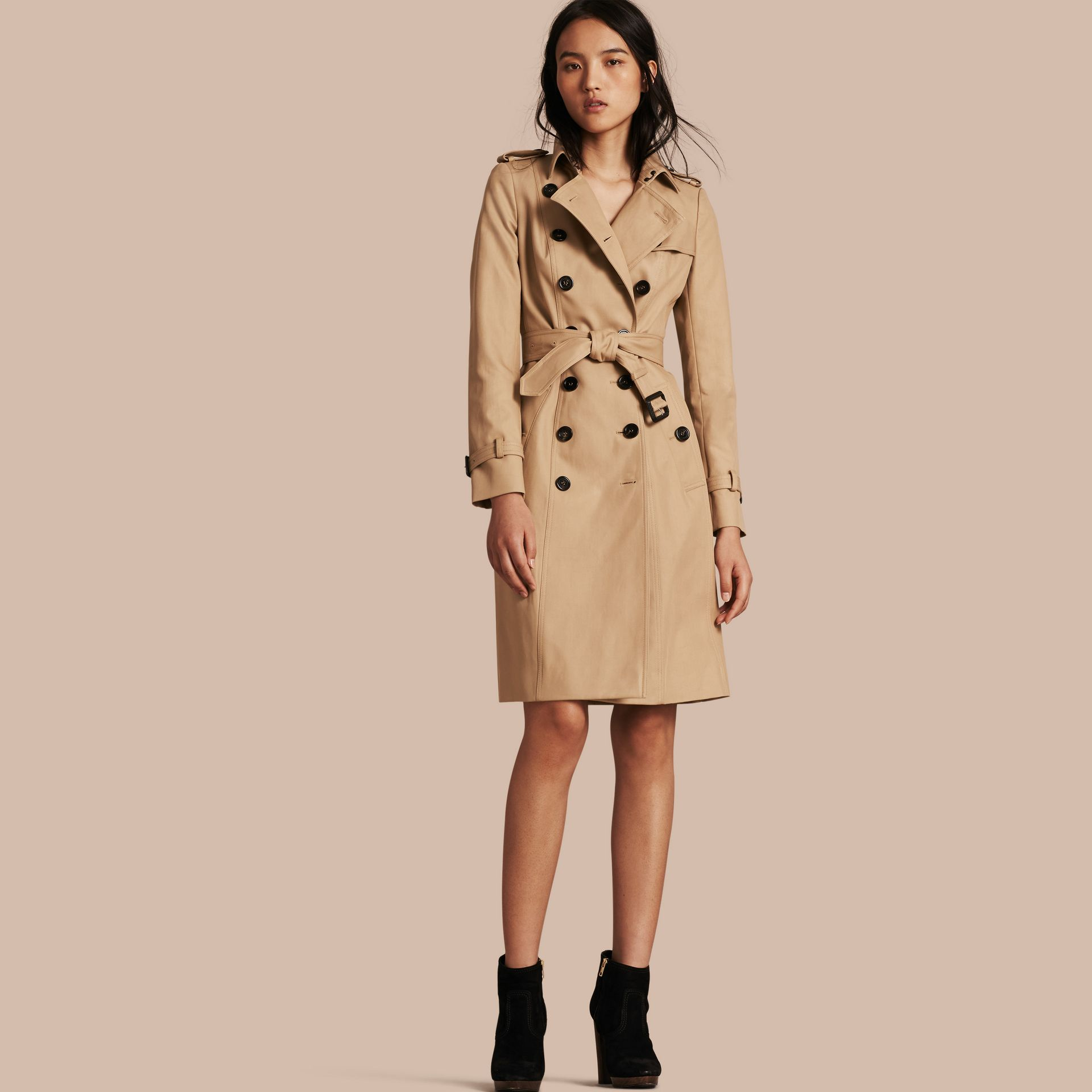 Cotton Gabardine Trench Coat Honey - gallery image 1