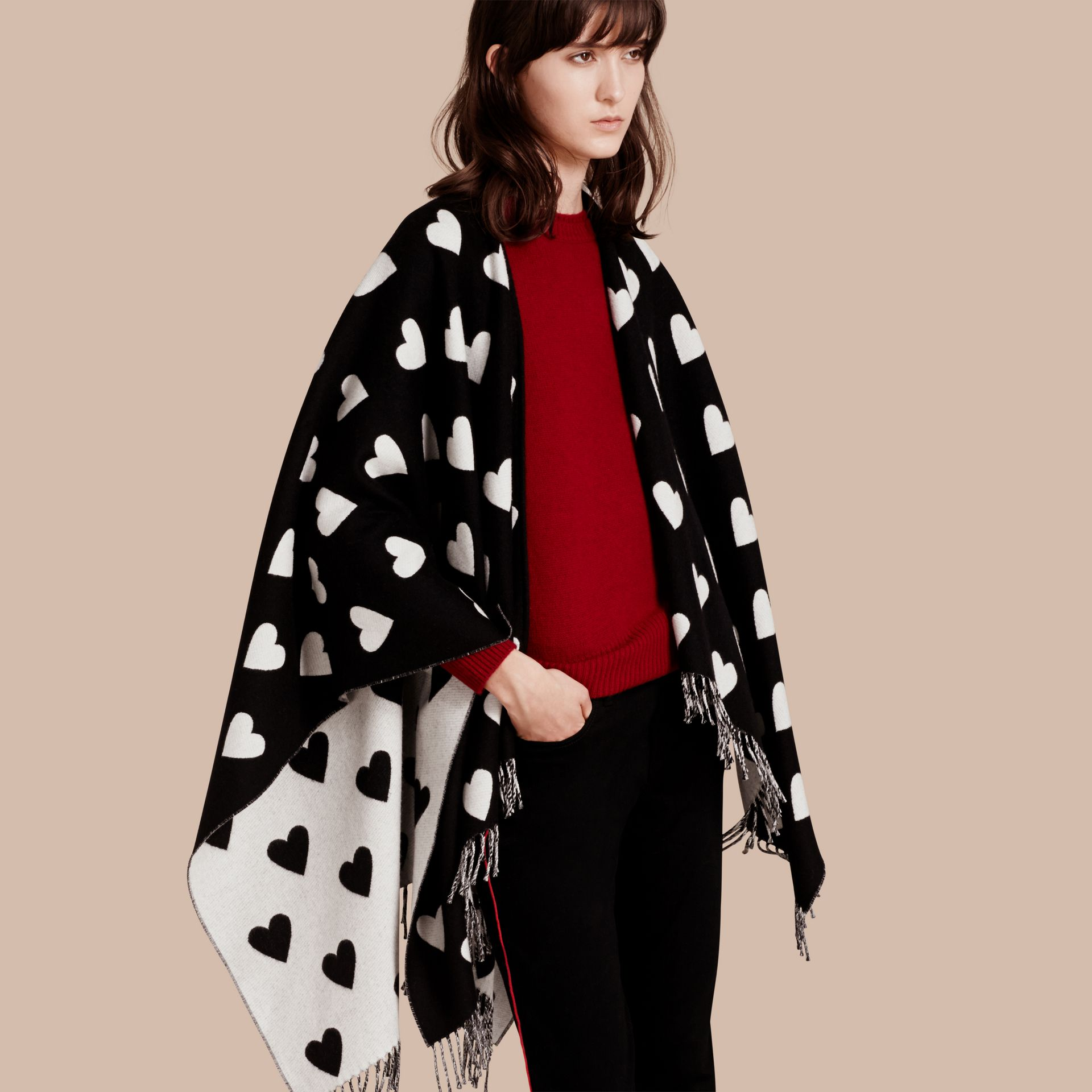 Heart Jacquard Merino Wool Poncho in Ivory/black - gallery image 1