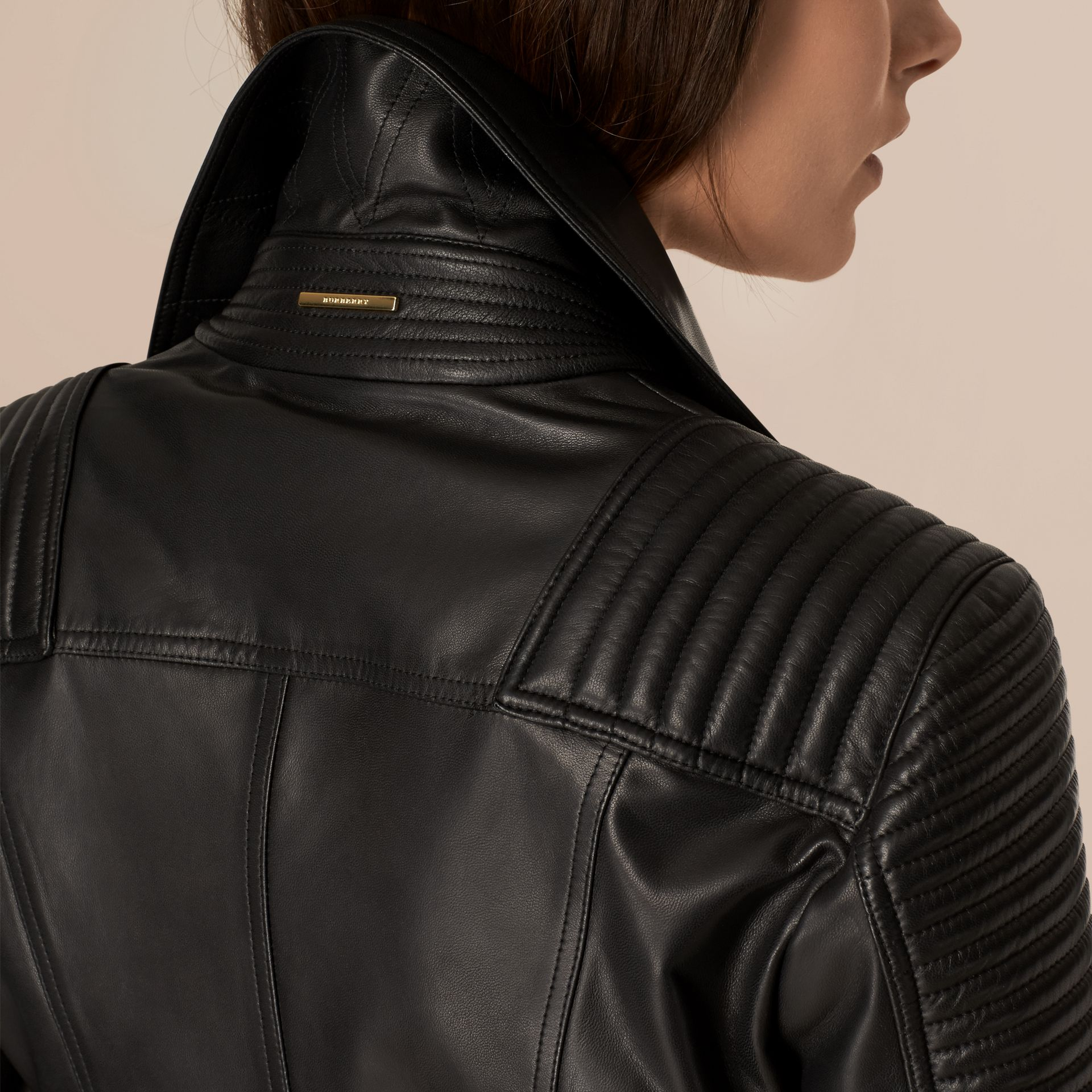 Black Quilted Detail Lambskin Biker Jacket - gallery image 5