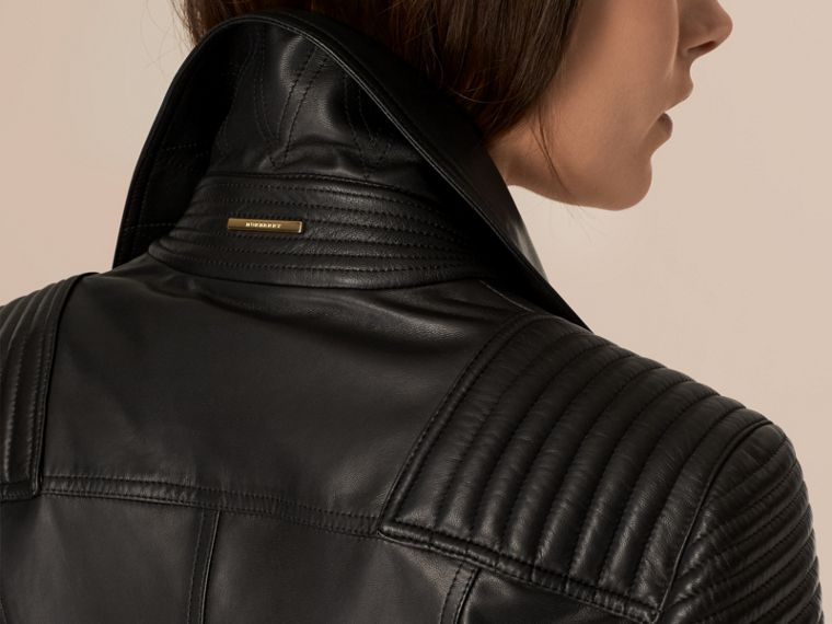Black Quilted Detail Lambskin Biker Jacket - cell image 4