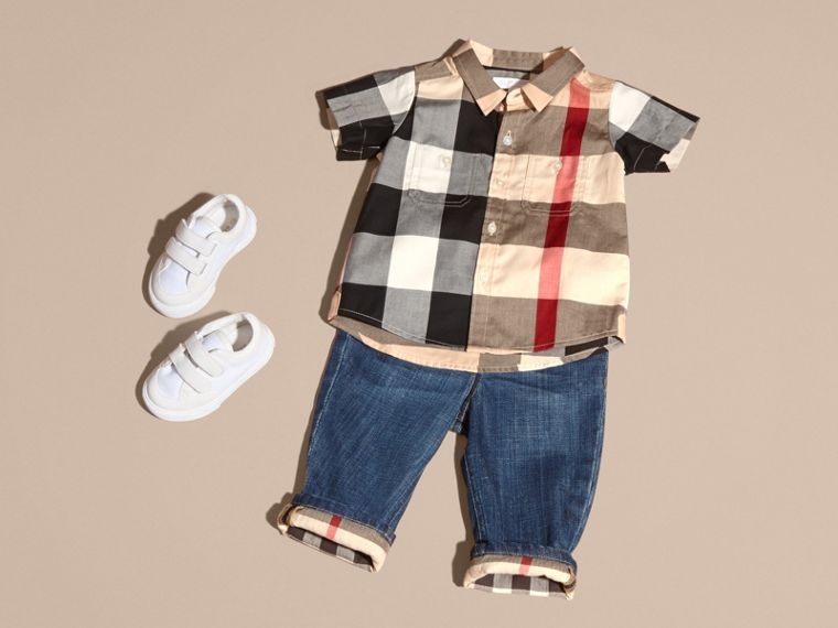 Short-sleeve Check Cotton Shirt in New Classic - Children | Burberry - cell image 2