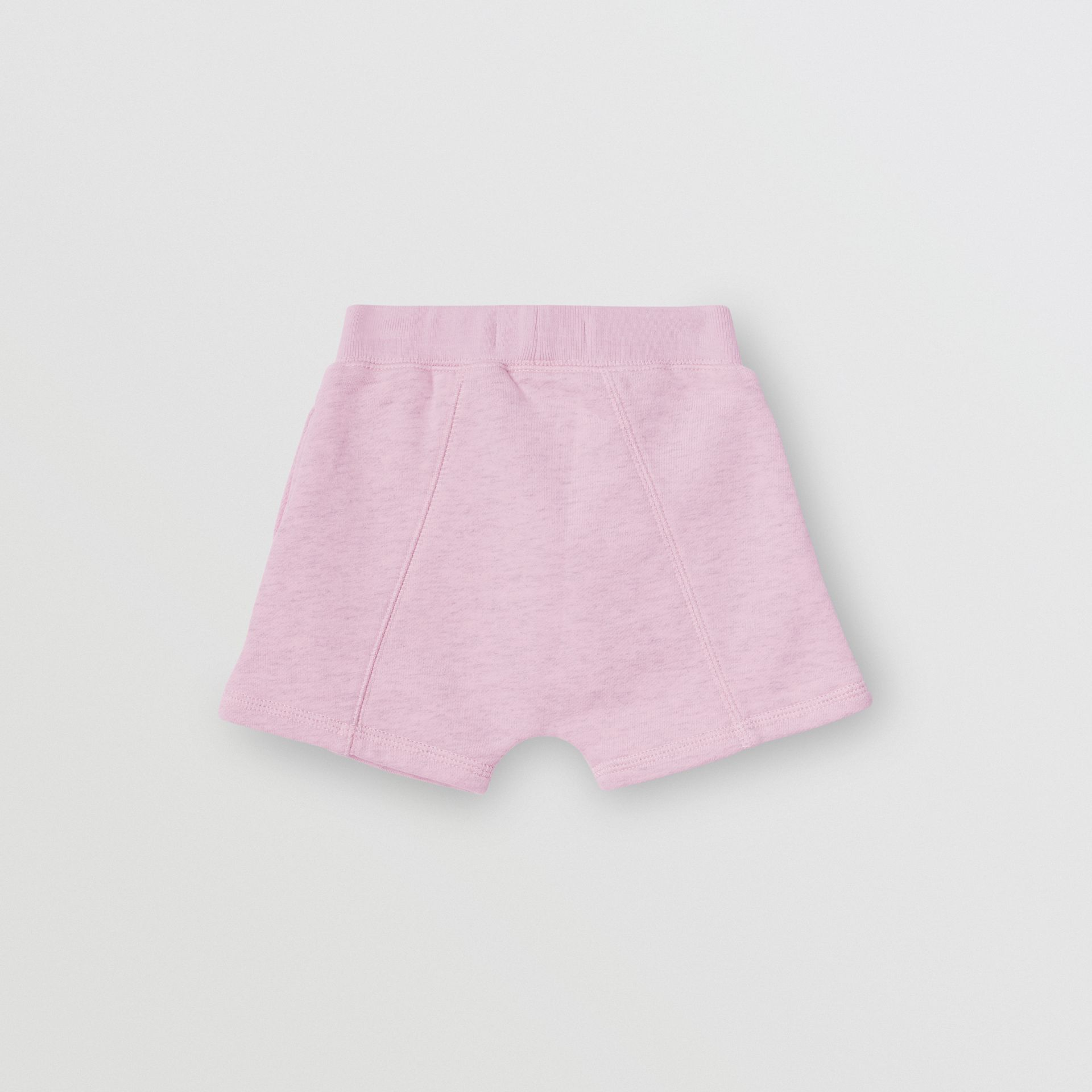 Logo Detail Cotton Drawcord Shorts in Pale Neon Pink - Children | Burberry - gallery image 3