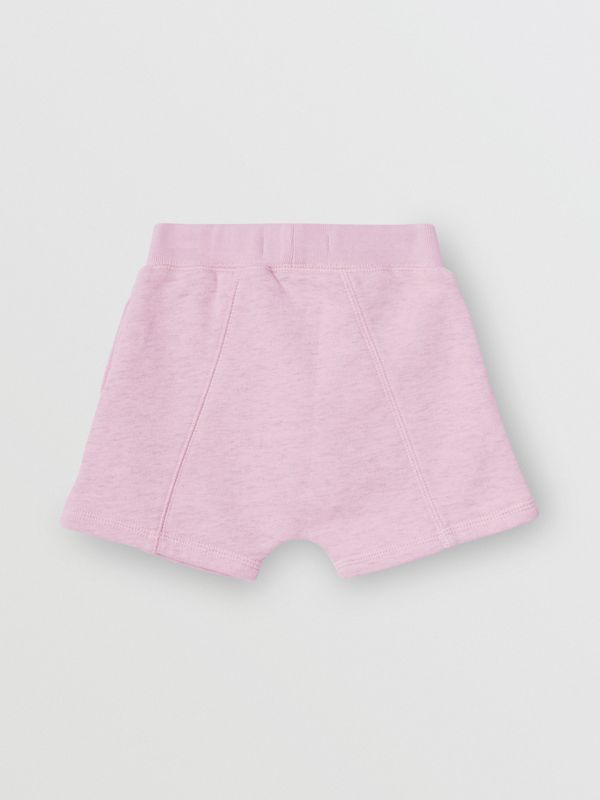Logo Detail Cotton Drawcord Shorts in Pale Neon Pink - Children | Burberry - cell image 3