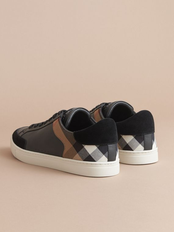 Leather and House Check Trainers in Black - Men | Burberry - cell image 3