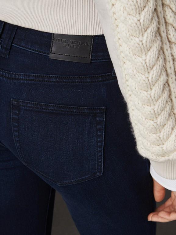 Skinny Fit Power-stretch Denim Jeans in Dark Indigo - Women | Burberry United Kingdom - cell image 1